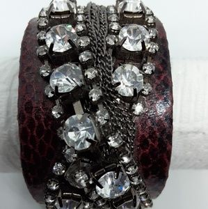 Yik Fung leather rhinestone Glam cuff bracelet